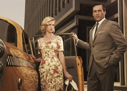 January Jones and Jon Hamm and Betty and Don Draper